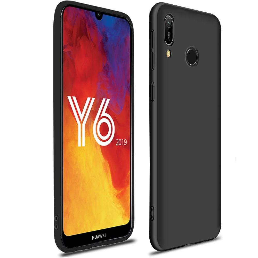 AURSTORE Coque pour Huawei Y6 2019 Silicone Gel TPU Souple-Housse Etui de Protection Bumper pour Huawei Y6 2019 Couleur Noir