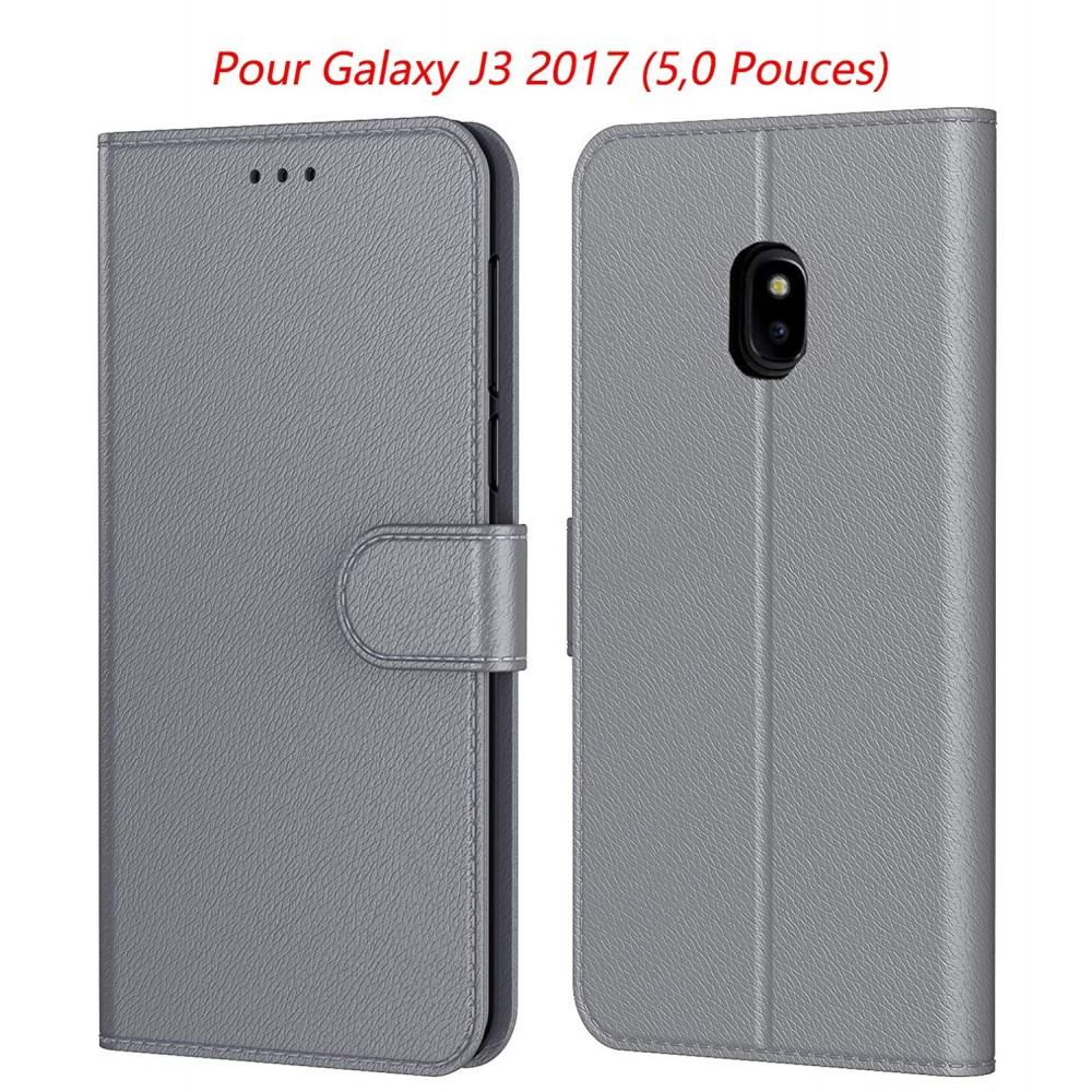 AURSTORE Etui Coque pour Samsung Galaxy j3 2017 (J330), Protection Etui Housse en Cuir Portefeuille Livre Couleur Gris